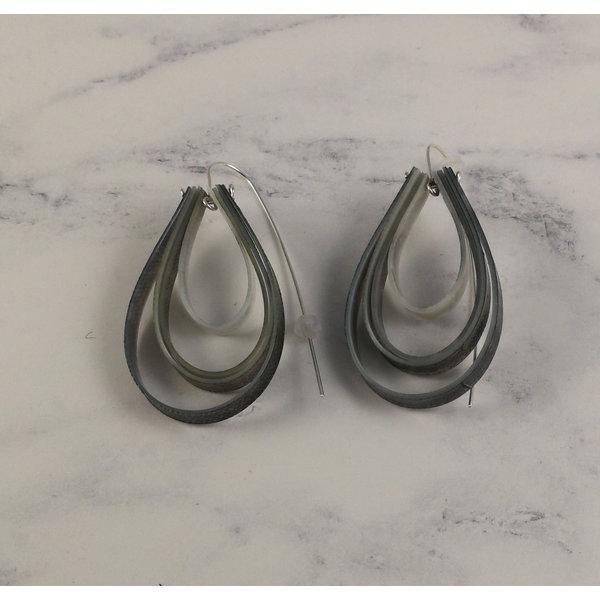 Layered teardrop  long hook grey earrings 62