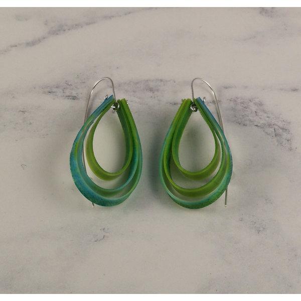 Layered teardrop  long hook green earrings 57