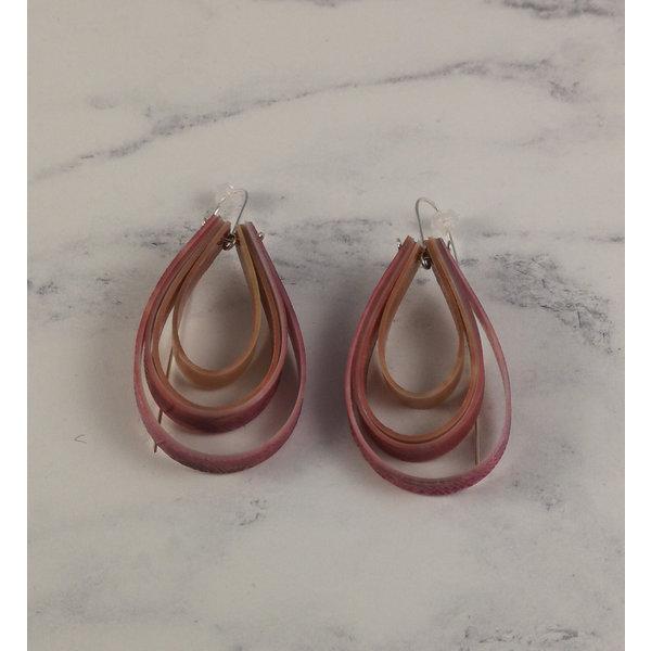 Layered teardrop  long hook dusky pink earrings 64