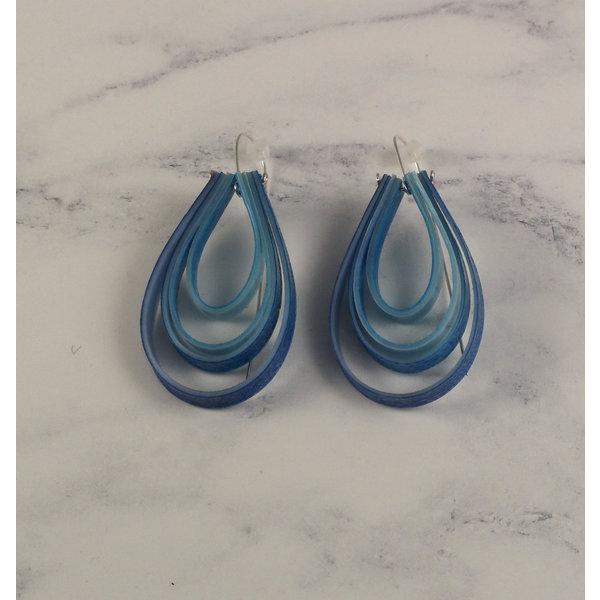 Layered teardrop  long hook blue earrings 66