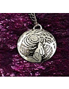 Hare moongazing metal dark dome  pendant 41