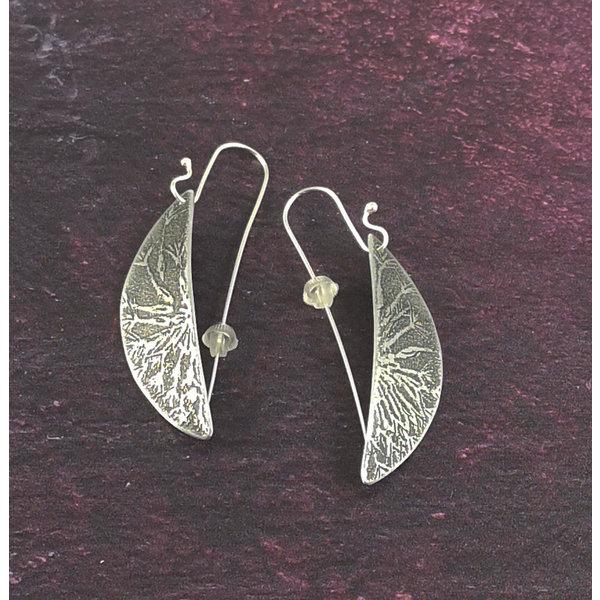 Dandelion metal dark hemisphere long hook earrings 48