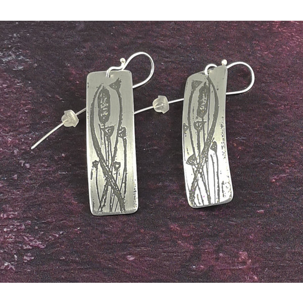 Bullrushes metal light rectangle long hook earrings 56