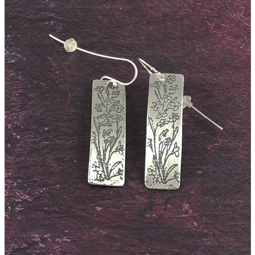 Anna Roebuck Bluebells metal light rectangle long hook earrings 55