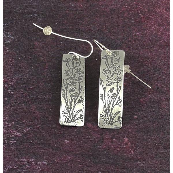 Bluebells metal light rectangle long hook earrings 55