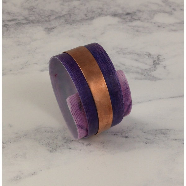 Bangle adjustable recylced Purple- copper 23