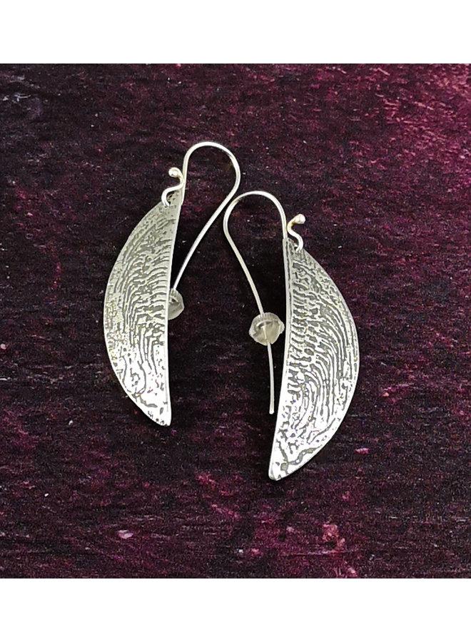 Ammonit Metall leichte Hemisphäre lange Haken Ohrringe 50
