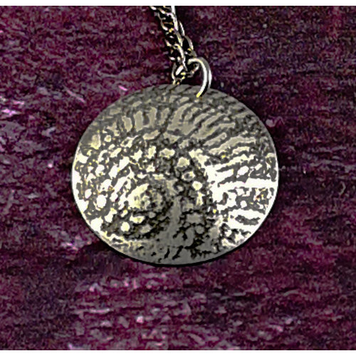 Anna Roebuck Ammonite metal dark dome  pendant 44