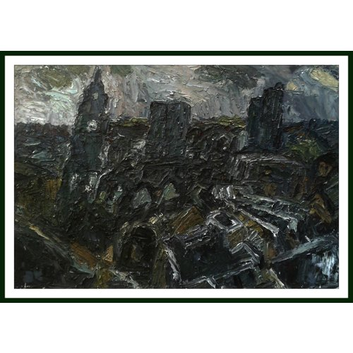 Barry De More Dächer mit Rathausuhr, Bradford-Öl 010