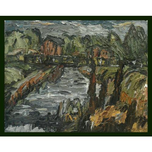 Barry De More Elland Canal Bridge with cottages  oil 014
