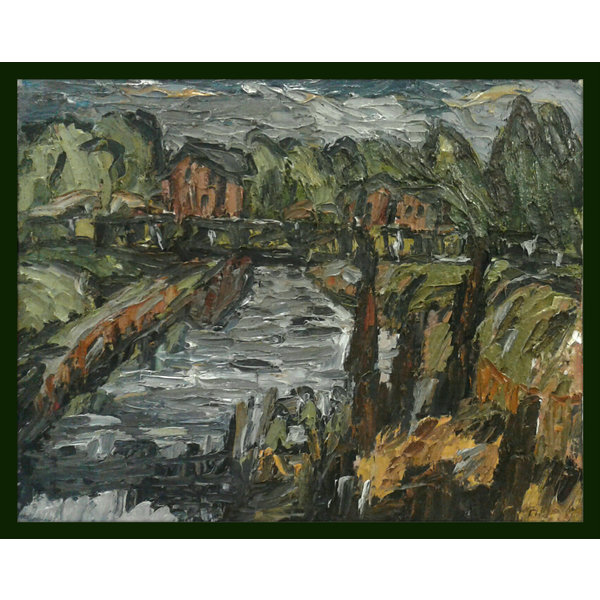 Elland Canal Bridge con casas de aceite 014