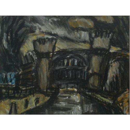 Barry De More Schiefe Brücke Nr. 3, Todmorden Pastell 021