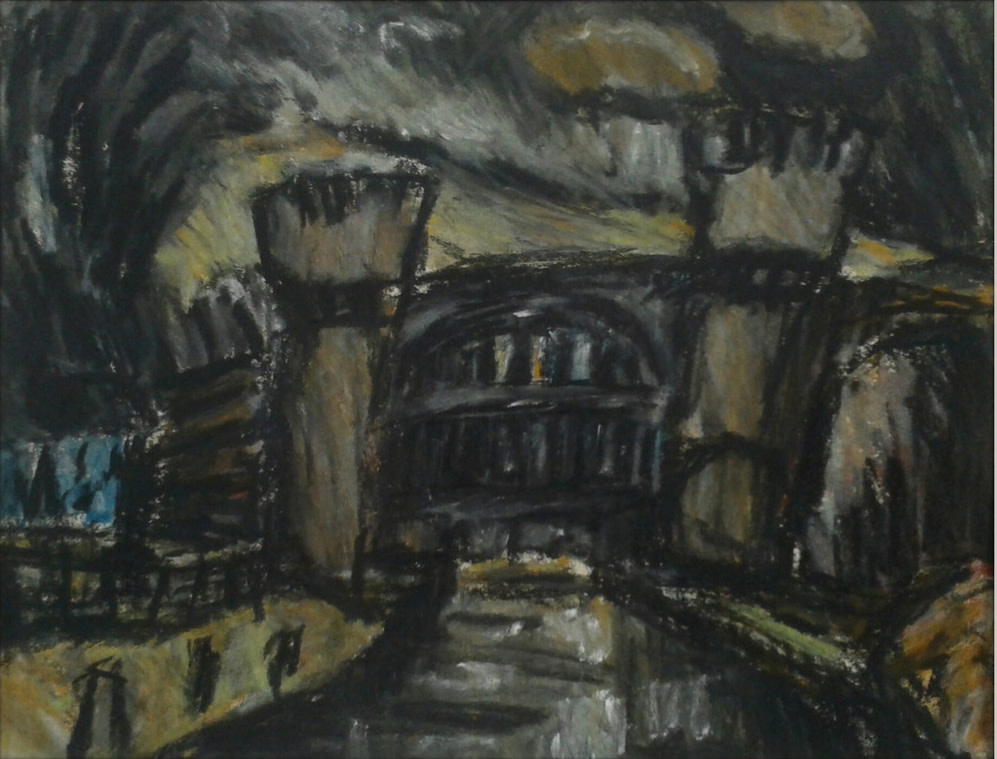 Skew Bridge No  3, Todmorden pastel 021