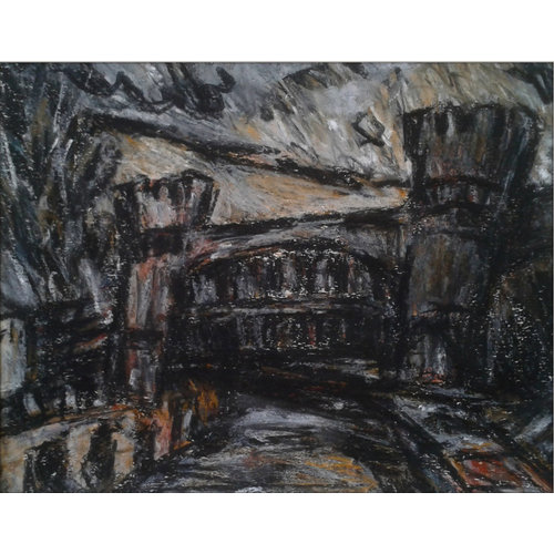 Barry De More Skew Bridge No. 1,  Todmorden pastel 020