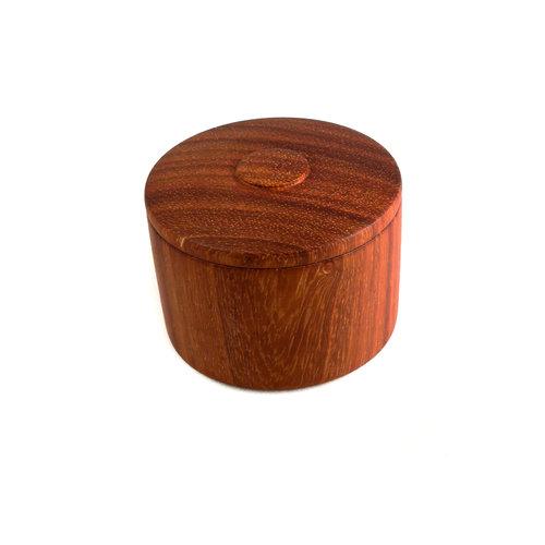 Kim W Davis Padauk caja de tapa torneada a mano de madera 25