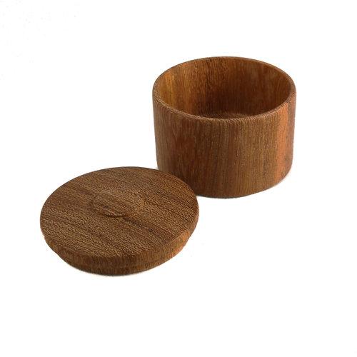 Kim W Davis Caja con tapa torneada a mano de madera de mango 26