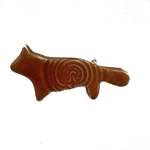 Pretender To The Throne Fox orange small stamped ceramic brooch  089