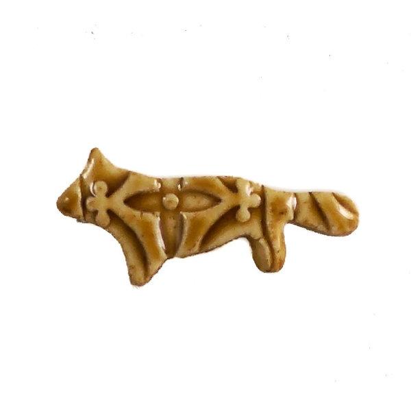 Fox ochre flower  small stamped ceramic brooch  115