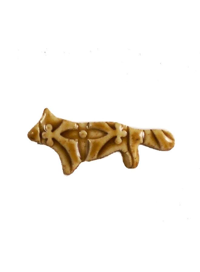 Fox Ocker Blume kleine gestempelte Keramikbrosche 115