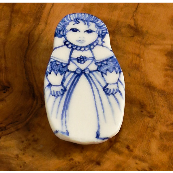 Costume doll with lace ceramic brooch  111