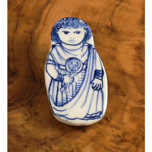 Costume doll in toga ceramic brooch  109