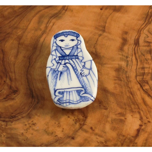 Costume doll with veil ceramic brooch  110