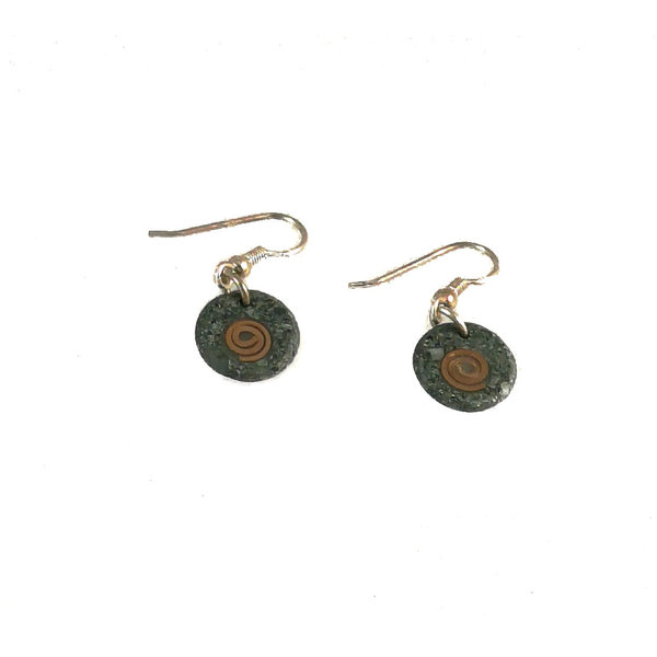 Slate disc with copper spiral  earrings 11