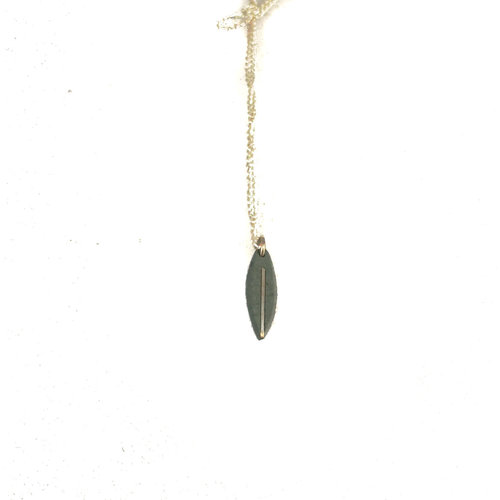 Slate & Silver Slate willow leaf  silver line pendant 08