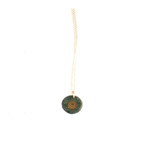 Slate & Silver Slate disc with copper spiral pendant 07