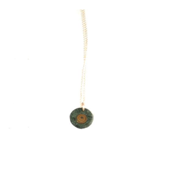 Schieferscheibe mit Kupferspiralanhänger 07