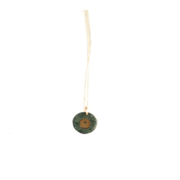 Slate disc with copper spiral pendant 07