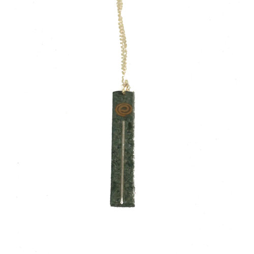 Slate & Silver Slate Long with silver and copper  pendant 09