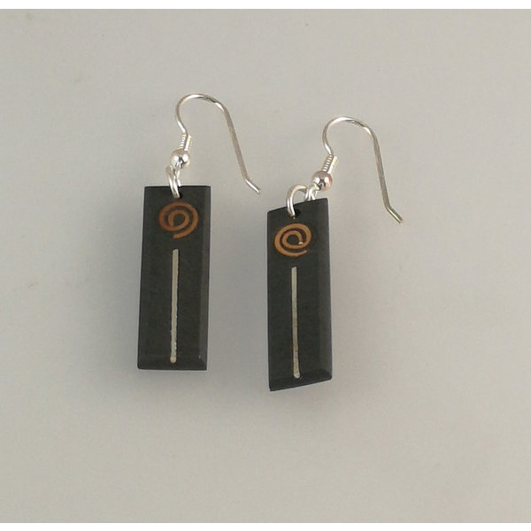 Slate tablet with copper and silver earrings 16