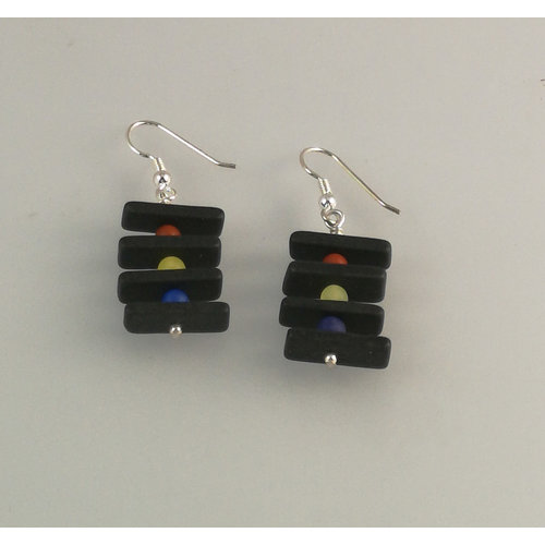 Slate & Silver Slate rods with semi-precious beads earrings 17