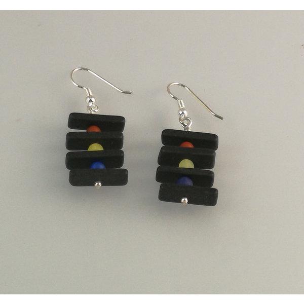 Slate rods with semi-precious beads earrings 17