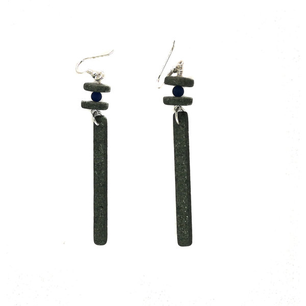 Slate long rods with semi-precious bead earrings 18