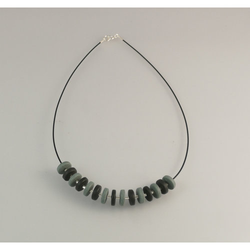 Slate & Silver Slate  rondel with silver beads necklace 24