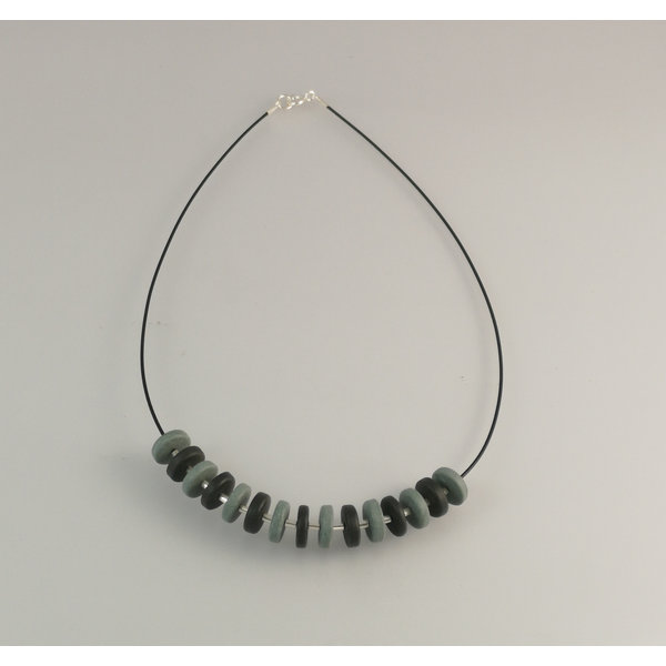 Slate  rondel with silver beads necklace 24