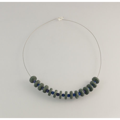 Slate & Silver Slate  rondel with blue semi-precious beads necklace 23