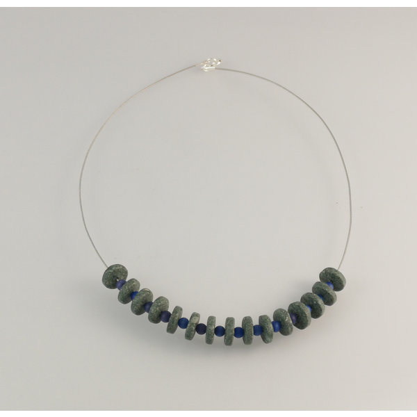 Slate  rondel with blue semi-precious beads necklace 23