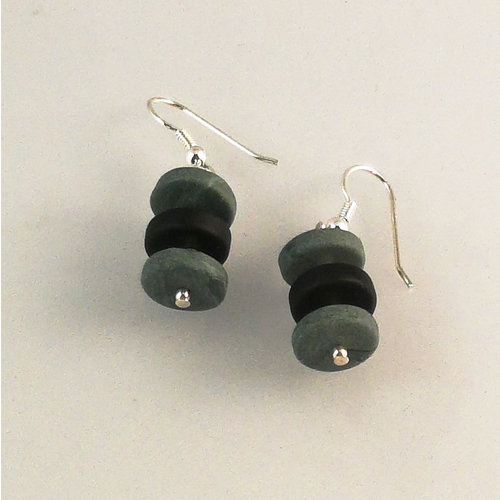 Slate & Silver Slate  rondel  with semi silver beads earrings 26