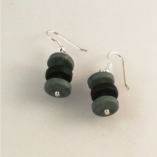 Slate  rondel  with semi silver beads earrings 26