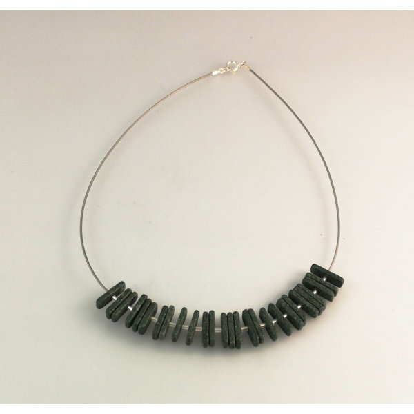Slate  grouped rods with silver beads necklace 21