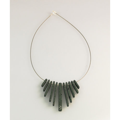Slate & Silver Fringe Slate  rods with silver inlay necklace 20