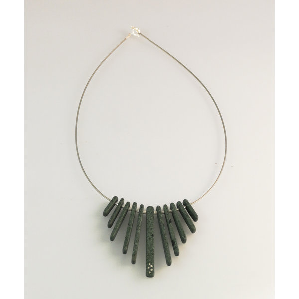 Fringe Slate  rods with silver inlay necklace 20