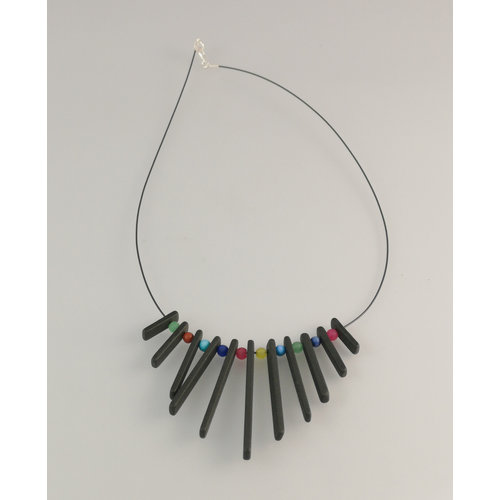 Slate & Silver Fringe  Slate  rods  with semi precious beads necklace 25