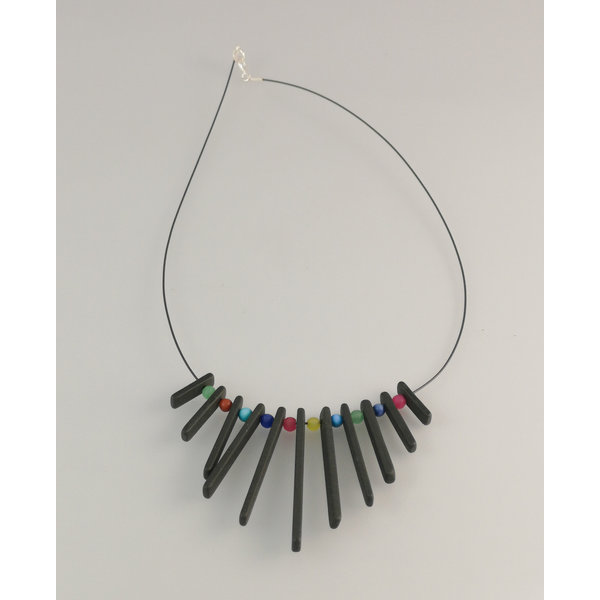 Fringe  Slate  rods  with semi precious beads necklace 25