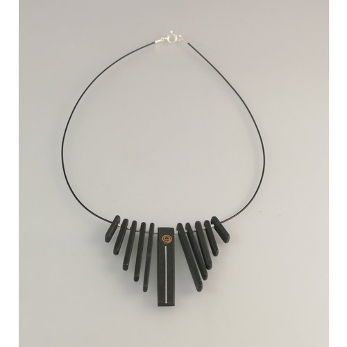 Slate & Silver Fringe  Slate  rods with copper and silver silver necklace 22