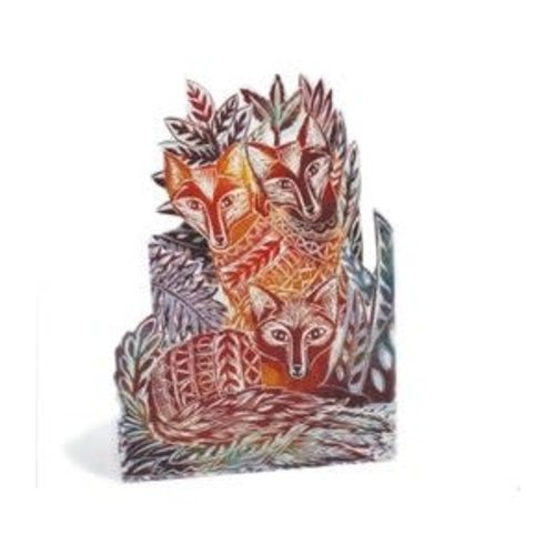 Judy Lumley Three Foxes 3D Trifold card