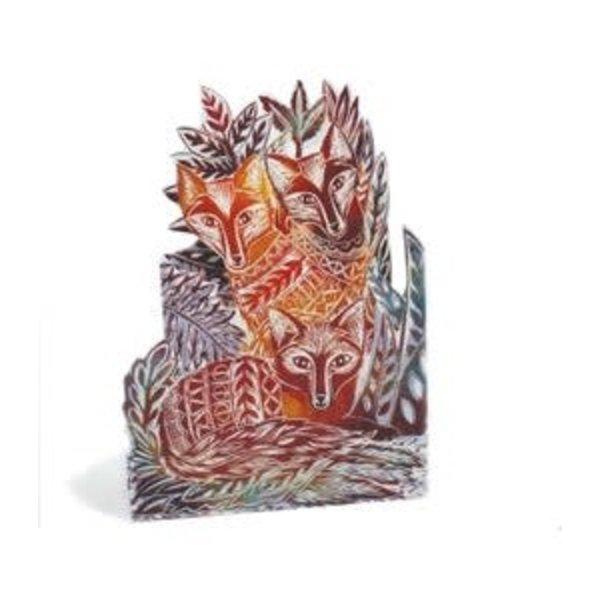 Three Foxes 3D Trifold card